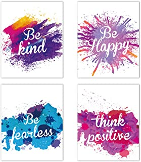 """HLNIUC Watercolor Inspirational Saying Art Print Poster Set of 4 (8""""X10"""") Abstract Printing Motivational Quote Canvas Wall Art Picture for Office Classroom Decor"""