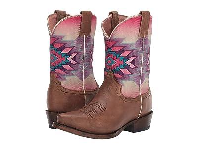 Roper Kids Mayan Snip (Toddler/Little Kid) (Burnished Brown Leather Vamp/Digital Aztec Print Shaft) Girls Shoes