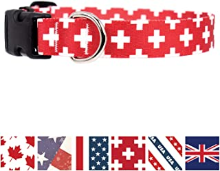 Buttonsmith Flags Dog Collar - Fadeproof Permanently Bonded Printing, Military Grade Rustproof Buckle, Resistant to Odors & Mildew, Choice of 5 Sizes, Made in The USA