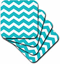 3dRose CST_179669_1 Turquoise Chevron Zig Zag Pattern Teal Aqua Blue Stylish Zigzags Soft Coasters, Set of 4