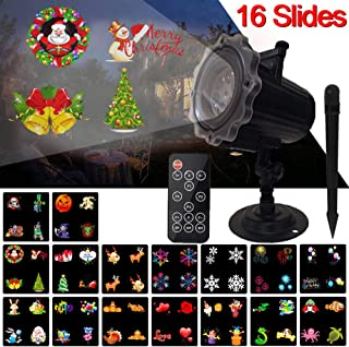 Halloween Christmas Projector,Holiday LED Light Projection 16 Slides Moving Patterns Decorative Lights Waterproof Xmas Birthday Party Yard Garden Decorations for Outdoor Indoor with Remote Control