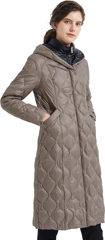Orolay Women's Inner Bib Down Jacket Long Winter Coat Hooded Puffer Jacket