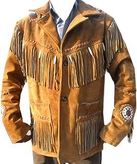 Coolhides Men's Cowboy Leather Jacket Beads, Fringes and Bones