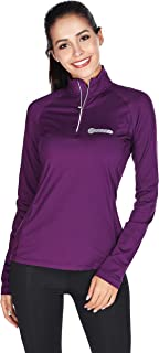 Bpbtti Women's Thermal Quarter Zip Pullover Shirt Running Cycling Jersey with Zipper Pocket - Moisture Wicking and Breathable