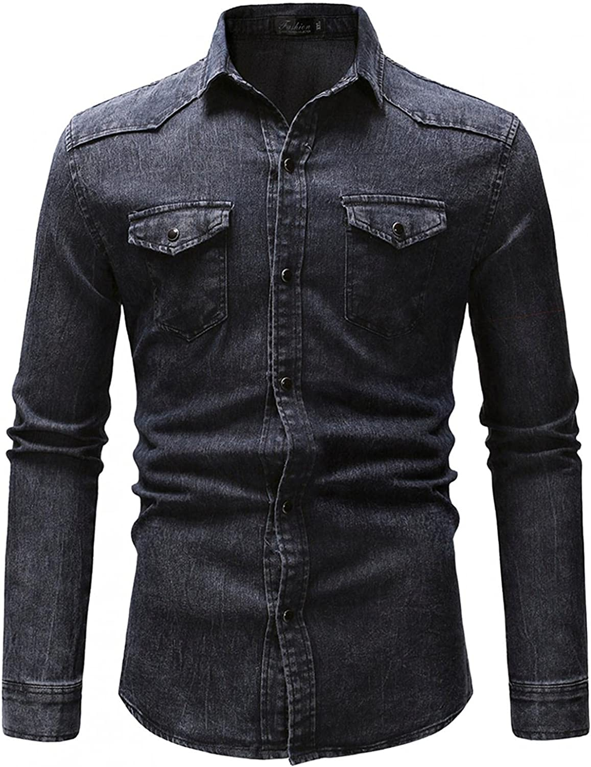 Men's Long Sleeve Denim Shirt Vintage Button Down Stand Collar Tops Stretch Casual Work Shirt with Chest Pockets