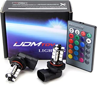 iJDMTOY 27-SMD Multi-Color RGB 9005 LED Bulbs For Scion FR-S, Dodge Charger, Subaru Impreza WRX, On High Beam as Daytime Running Lights w/IR Remote Control