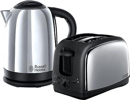 Russell Hobbs 林肯水壶和 2 片式烤面包机 21830 - 抛光不锈钢银,2 件装