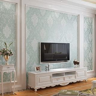 Q QIHANG European Style Luxury 3D Damask Pearl Powder Non-Woven Wallpaper Roll Light Blue Color 0.53m x 10m=5.3㎡