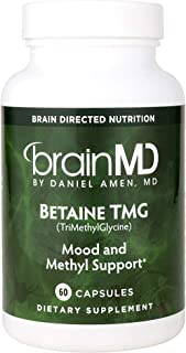 Dr. Amen brainMD Betaine TMG - 1000 mg Trimethylglycine, 60 Capsules - Healthy Mood Support Supplement, Promotes Metabolis...