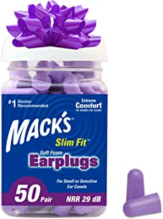 Mack's Slim Fit Soft Foam Earplugs, 50 Pair - Small Ear Plugs for Sleeping, Snoring, Traveling, Concerts, Shooting Sports & Power Tools, 50 Count