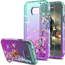 Galaxy S7 Active Case(Not Fit Samsung Galaxy S7)with HD Screen Protector With Ring Holder,KaiMai Glitter Moving Quicksand Clear Cute Shiny Girls Women Phone Case For Galaxy S7 Active-Aqua/Purple Ring