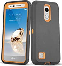 LG Aristo 2 Case, LG Tribute Empire/LG Tribute Dynasty/LG Rebel 3 L158VL/LG Rebel 4 LTE Case, 3 in 1 Heavy Duty Shockproof [with Built-in Screen Protector] Protective Armor Phone Cover (Black/Orange)