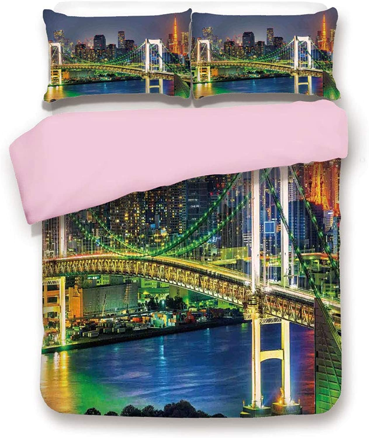 Pink Duvet Cover Set,Queen Size,Tokyo Skyline with Tokyo Tower and Rainbow Bridge Tokyo Japan Night Scenery View,Decorative 3 Piece Bedding Set with 2 Pillow Sham,Best Gift for Girls Women,Green Navy