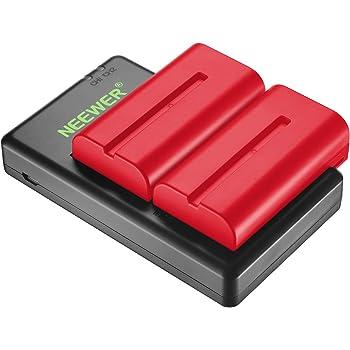 Neewer 2個2600mAh Sony NPF550/570/530交換用リチウム電池「赤」充電器付き Sony HandyCams、Neewer CN-160 CN-216 LEDライト、Neewer 759 74K 760 Feelworld 759 74K 760 フィールドモニター対応(pse認証あり)