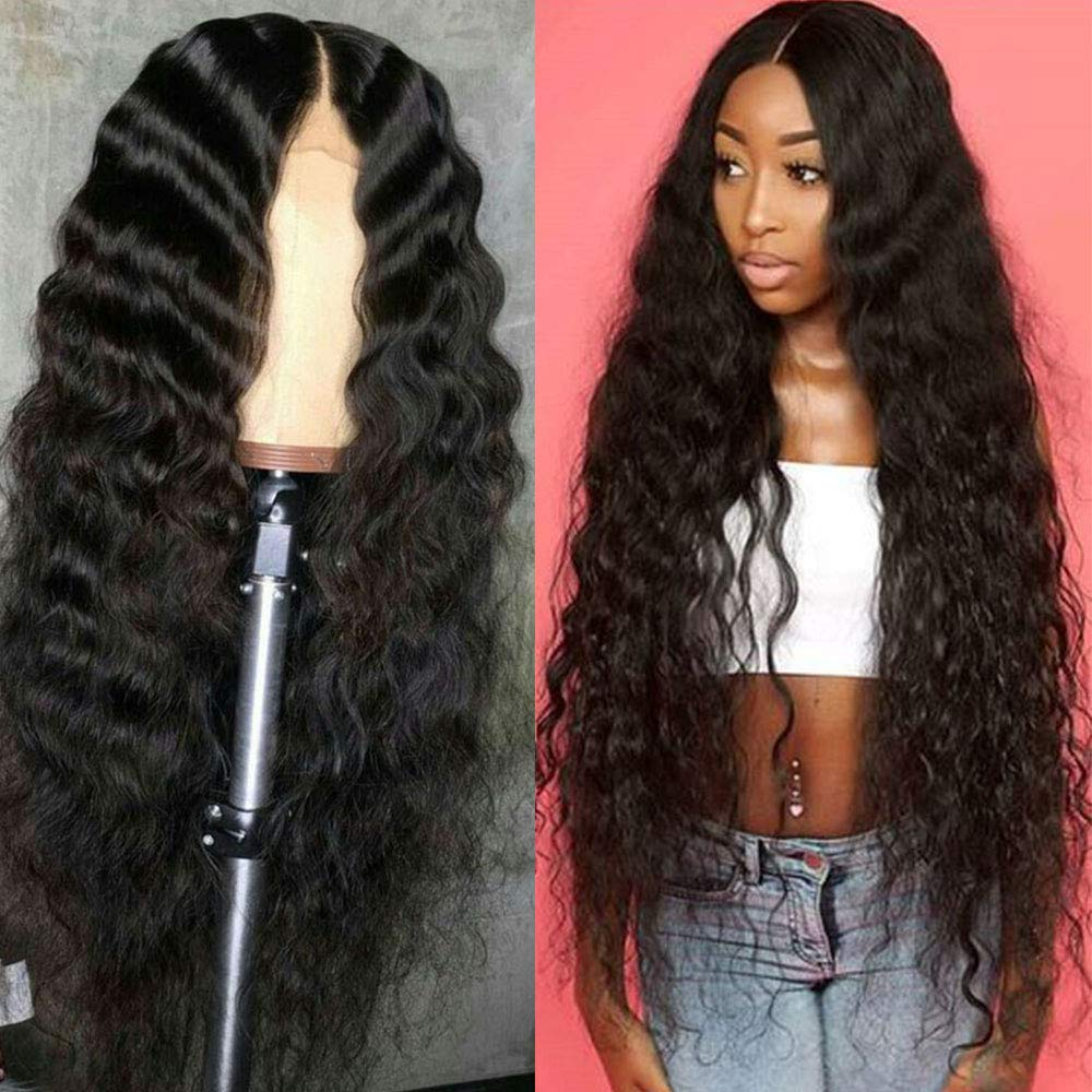 Oakland Mall 8-30Inch A surprise price is realized Long Deep Wave Human Hair Pa with Baby Middle Wigs