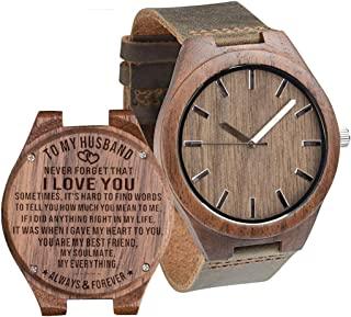 Engraved Wooden Watch for My Husband Man Son Dad Boyfriend Fiance Personalized Groomsmen Watches Custom Son Graduation from Mom, Dad Anniversary Wood Watch for Men