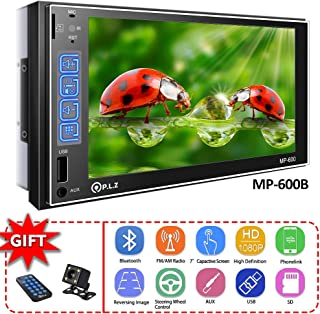 Double Din Car Stereo in-Dash Car Stereo Receiver with Bluetooth, MP5 Player/FM/Am/TF/USB/Aux-in, Remote and Backup Camera Included (with Backup Camera(Phonelink for Android&iOS))