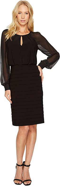 Adrianna Papell - Chiffon and Matte Jersey Banded Dress