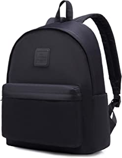 SIMPLAY+ Monochrome Classic Backpack for Women & Teen Girls, Water-resistance Bookbag with 11 Storage Pockets & Padded Straps, Black