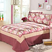 230x250cm Patchwork Bedspread with 2 Pillowcases Quilted Quilt Lightweight Bed Cover Throw, A, 230x250cm