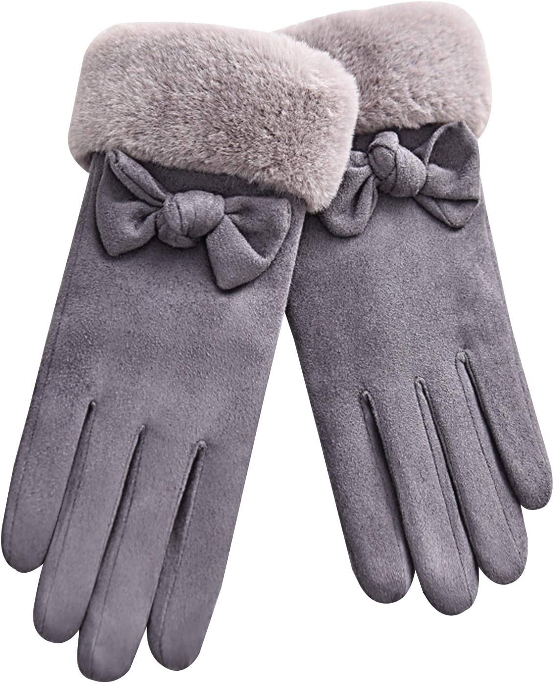Gloves Women's Cold Weather Gloves Soft Suede Warm Plush Lining Touch Screen Gloves (Color : Gray)