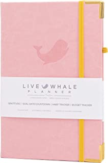 Live Whale Planner, Weekly Undated Planner,  A5 Personal Planner - Habit Tracker Crafted to Increase Productivity, Track Goals and Achieve Well Being. Thoughtful Details and Durable Features (Pink)