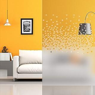 Película Decorativa Estampada Autoadhesiva para Ventana, Esmerilada, Flores, Bandas, Diseño, Píxeles Degradados, Anchura 1,52 m, en Rollo