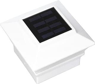 iGlow 8 Pack White Outdoor Garden 4 x 4 Solar LED Post Deck Cap Square Fence Light Landscape Lamp Lawn PVC Vinyl Wood