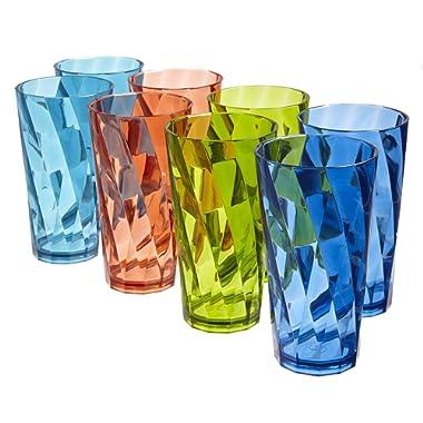 Optix 20-ounce Plastic Tumblers | set of 8 in 4 Basic Colors