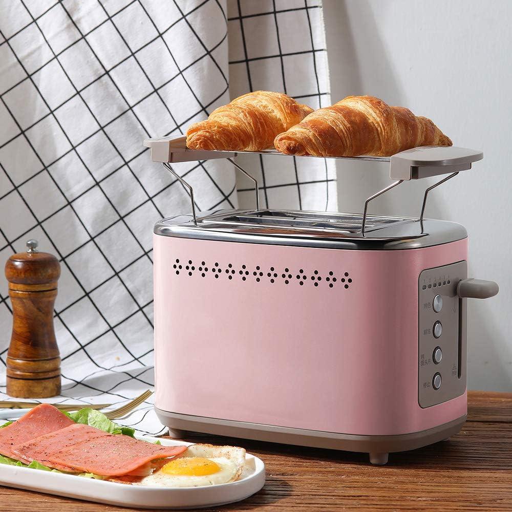 Denghl Grille-Pain Grille-Pain électrique 220V Multifonctions Machine Automatique Ménage Pain Cuisson Machine pour Le Petit déjeuner Making Machine,Vert Pink