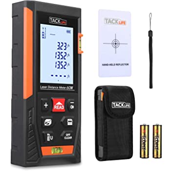 Tacklife HD60 Classic Laser Measure 196Ft M/In/Ft Mute Laser Distance Meter with 2 Bubble Levels, Backlit LCD and Pythagorean Mode, Measure Distance, Area and Volume - Carry Pouch and Battery Included