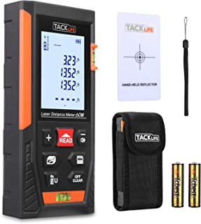 Tacklife HD60 Classic Laser Measure 196Ft M/In/Ft Mute Laser Distance Meter with 2 Bubble..