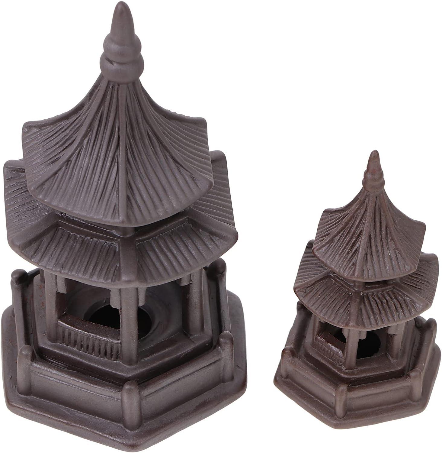 Happyyami 2Pcs Mini Pagoda Statue Micro Landscape Ornaments Mininature Ceramic Hexagon Fairy Garden Figurine for Bonsai and Zen Garden Zisha Tea Pet