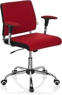 hjh OFFICE 719130 silla de oficina AVIDA tejido rojo, con apoyabrazos, ajuste de altura, cromado, inclinable, estable, acholchado, silla giratoria