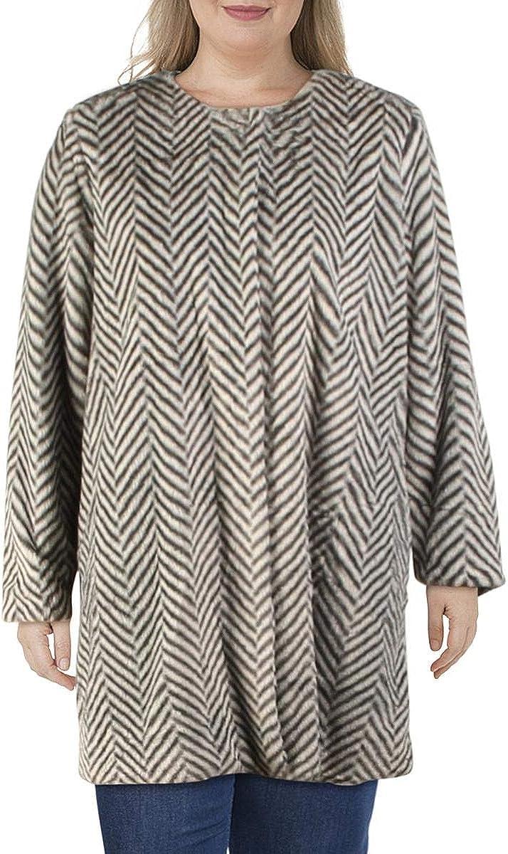 Fever Womens Winter Faux Fur Coat Gray L