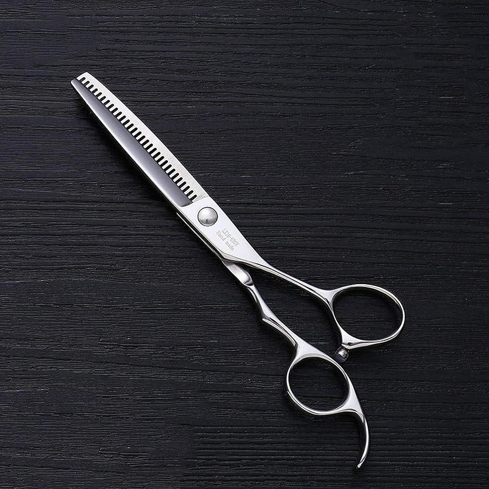 6インチV型30歯散髪用はさみ、美容院プロフェッショナル理髪用はさみ モデリングツール (色 : Silver)
