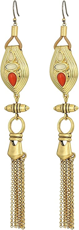 Lucky Brand - Coral and Leather Earrings