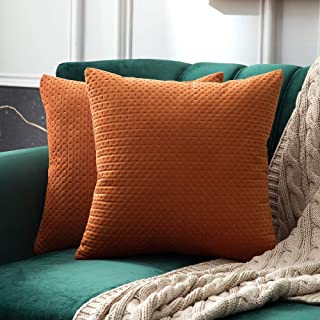 MIULEE Pack of 2 Decorative Velvet Throw Pillow Covers Soft Pattern Solid Pillow Cases Luxury Euro Sham Cushion Covers for Sofa Couch Bed 18x18 Inch, Orange