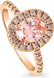 BERRICLE Rose Gold Plated Sterling Silver Halo Promise Engagement Ring Made with Swarovski Zirconia Morganite Color Oval Cut 1.51 CTW