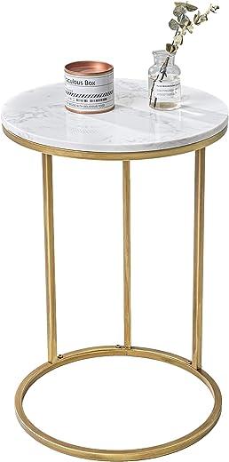 Amazon Brand – Umi Moderner C-förmiger Beistelltisch Sofatisch mit Goldenem Metallgestell für Wohnzimmer