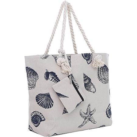 Große Strandtasche mit Reißverschluss 58 x 38 x 18 cm maritimes Design Muschel naturfarben Shopper Schultertasche Yacht Style
