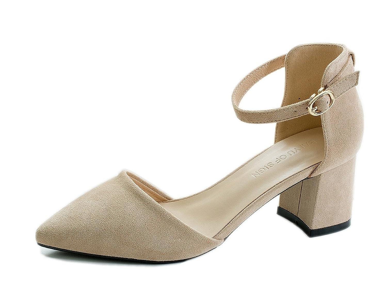 [ブルーポメロ] ポインテッドトゥ パンプス ストラップ 太ヒール レディース 歩きやすい 美脚 ベージュ 黒 革 靴擦れ防止パッドとインソール付き