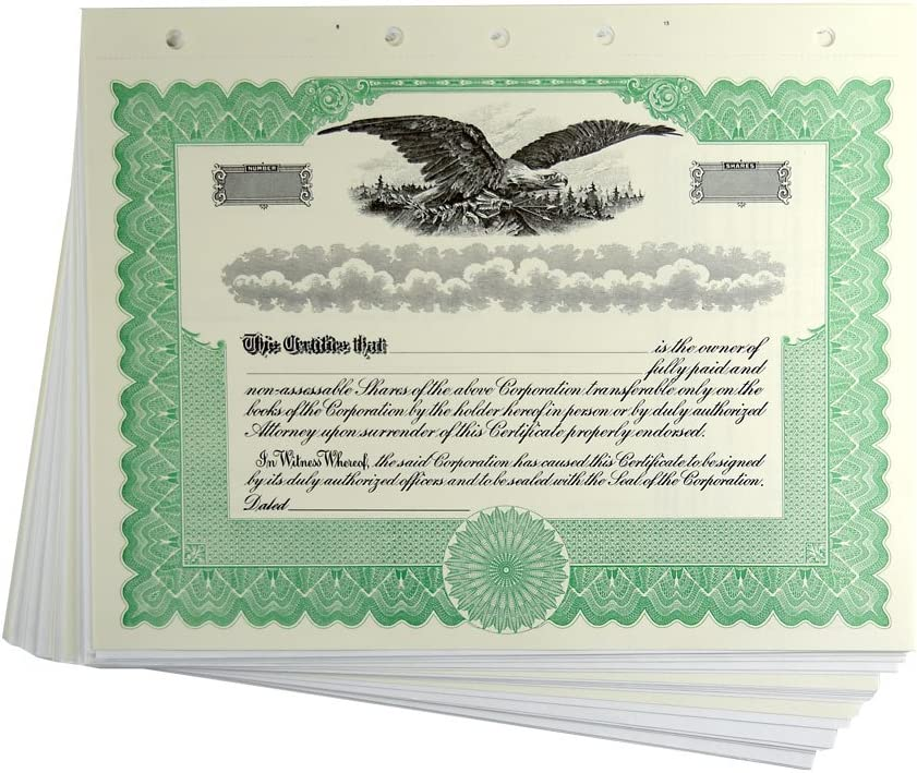 Blank Green Stock Certificates with San Antonio Ranking TOP20 Mall Stubs for Corporations