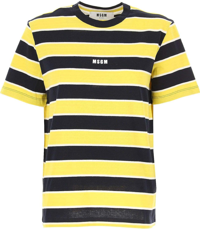 MSGM Women's 2641MDM88A19529306 Yellow Cotton TShirt