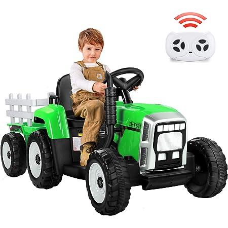 METAKOO Tractor Eléctrico 12V 7Ah, 2+1 Cambio de Marchas, 25W Tractor Batería con Remolque, Bocina/ Reproductor MP3/ Bluetooth/ Puerto USB/ Faro de 7 LED, Control Remoto para Niño 3-6 años (Verde)