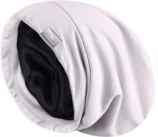 YANIBEST Satynowa czapka do spania na kręcone włosy - luźna czapka beanie i jedwabna czapka nocna z jedwabną podszewką dla...