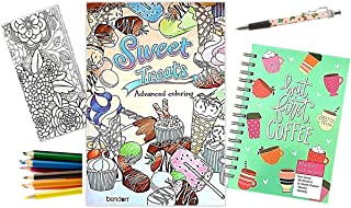 $28 » Advanced Coloring Book, Two Year Pocket Calendar, Daily Planner with Stickers, Colored Pencils and Ink Pen (Sweet Treats &...