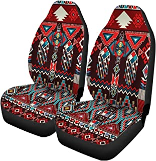 Pinbeam Car Seat Covers Geometric for Ceramics Ethnic Pattern Border Native American Navajo Set of 2 Auto Accessories Protectors Car Decor Universal Fit for Car Truck SUV