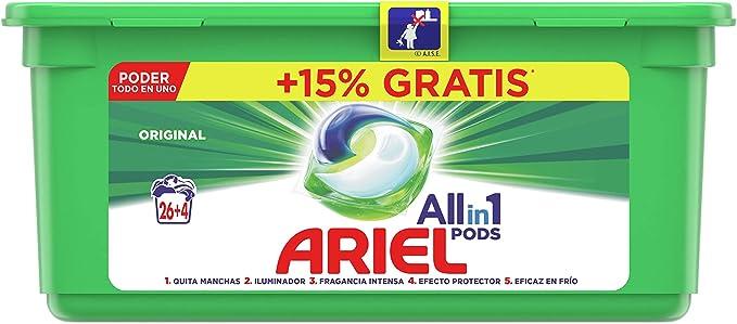 Ariel Todo en Uno Pods Original Detergente en cápsulas 30pods, 30lavados, adecuado para lavar a baja temperatura, Perfume Duradero