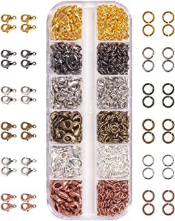 PandaHall Elite About 960 Pcs Jewelry Findings Kit with Brass Open Jump Rings and Lobster Claw Clasps 6 Colors for Jewelry Making